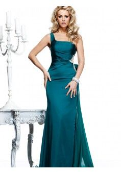 Sheath/Column One Shoulder Sleeveless Taffeta Evening Dresses With Beaded #FJ962