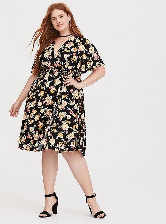 376149bc45 Black Floral Challis Midi Dress