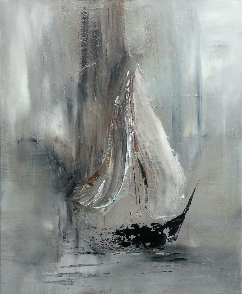 Exceptionnel Peinture abstraite, représentant selon moi un voilier dans un  RX81