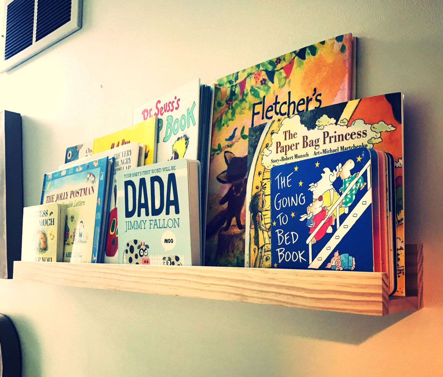 Playroom / Nursery Unfinished Floating picture / book rail | Art ...
