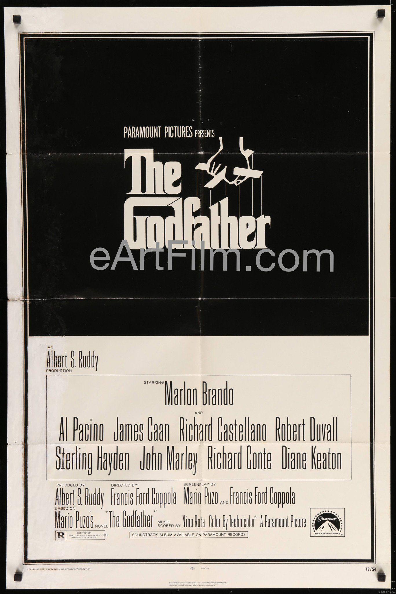 Godfather 1972 27x41 Francis Ford Coppola Marlon Brando Al Pacino James Caan Robert Duvall The Godfather Francis Ford Coppola Al Pacino