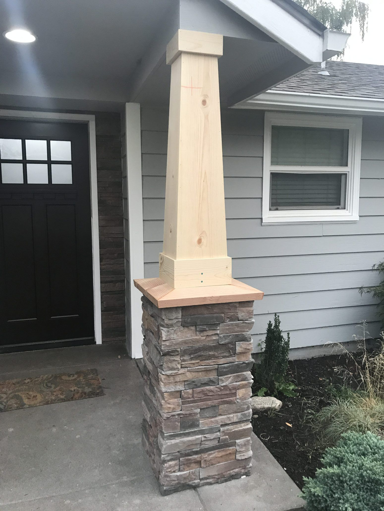 DIY Stacked Stone Front Porch Update Front porch stone