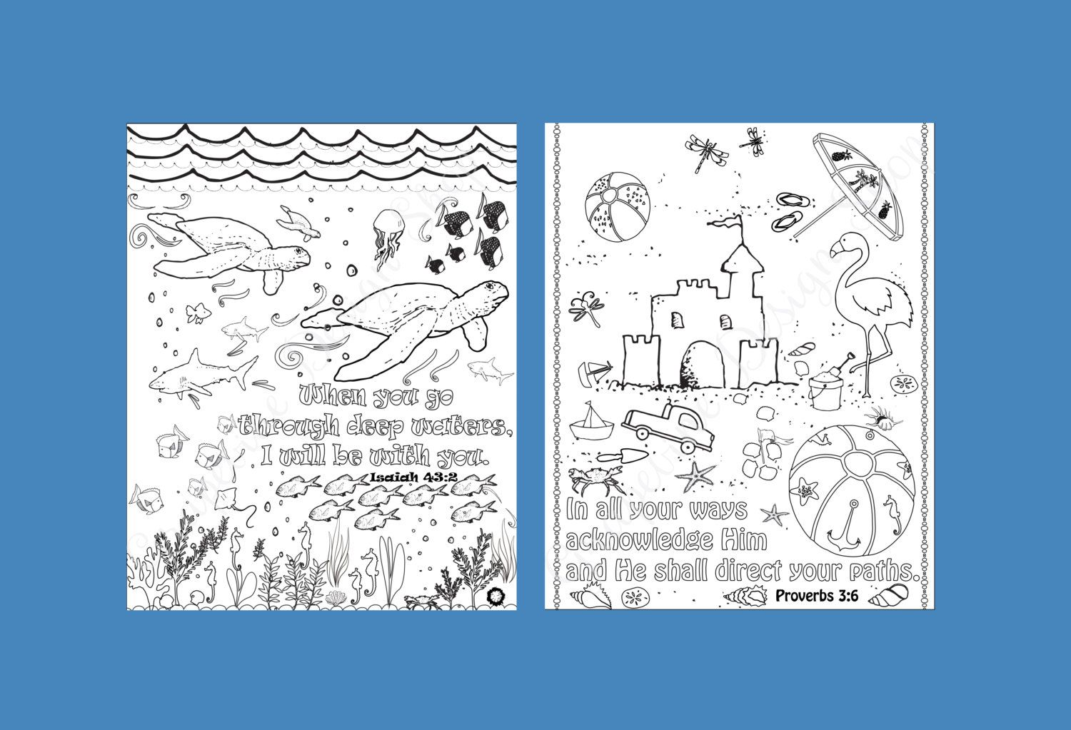 this is an instant download file of our print set of 5 coloring