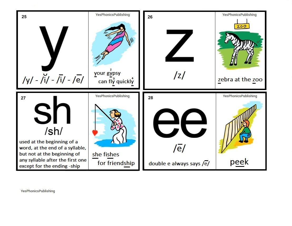 Orton Spalding Phonograms Illustrated Flash Cards Y Z Sh Ee Phonograms Phonics Words Phonics Help [ 856 x 1108 Pixel ]