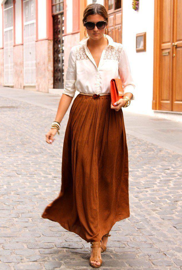34 combinaciones casuales de moda con las faldas largas para este ...