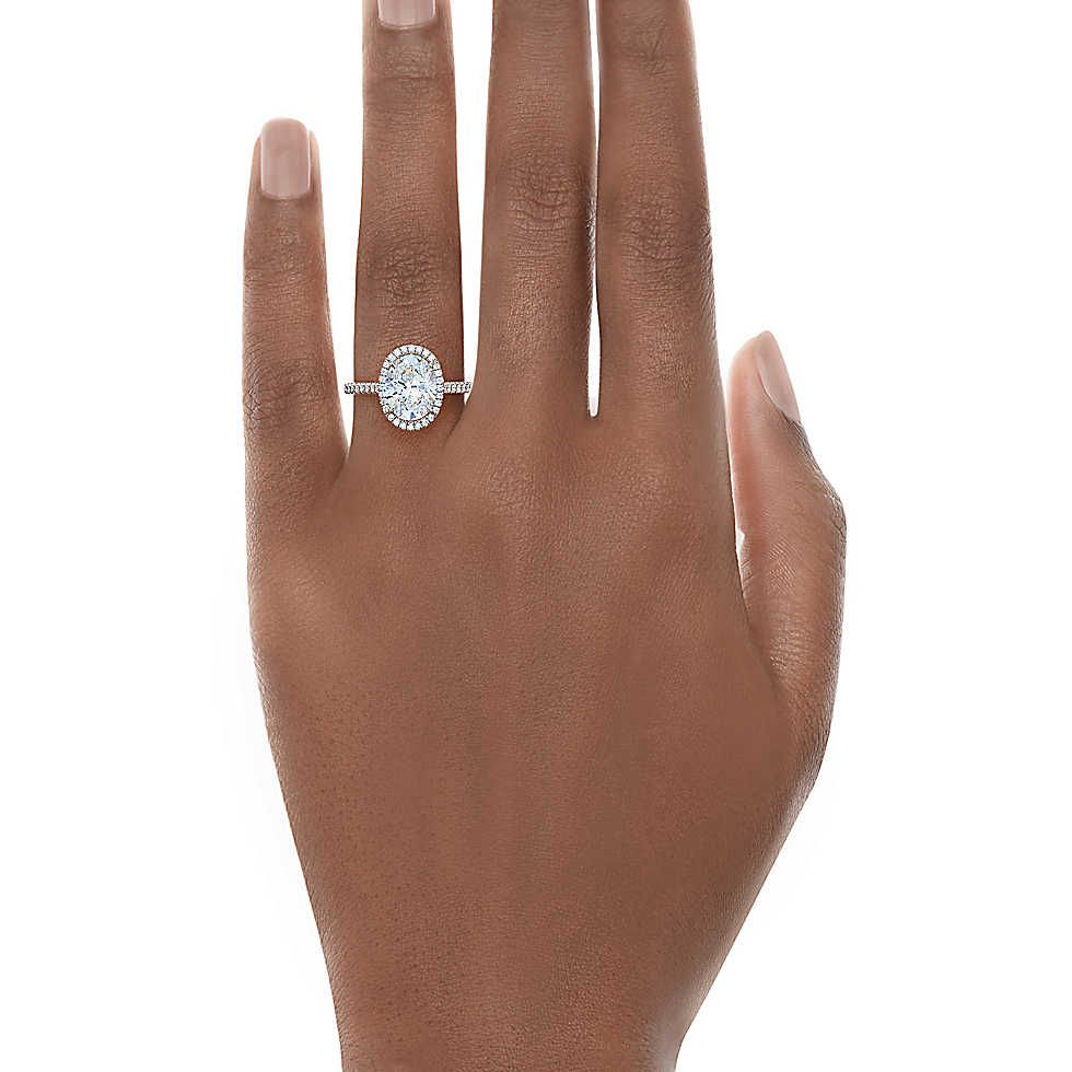Tiffany Soleste 174 Oval Cut Halo Engagement Ring With
