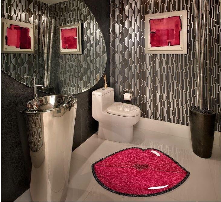 Buy Red Lips Shaped Rug Bathroom Red Bathroom Interior Design