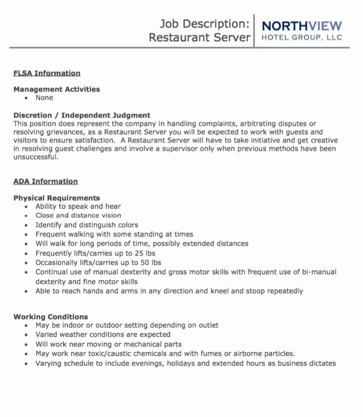 Servers Resume Job Description Elegant Blog Archives