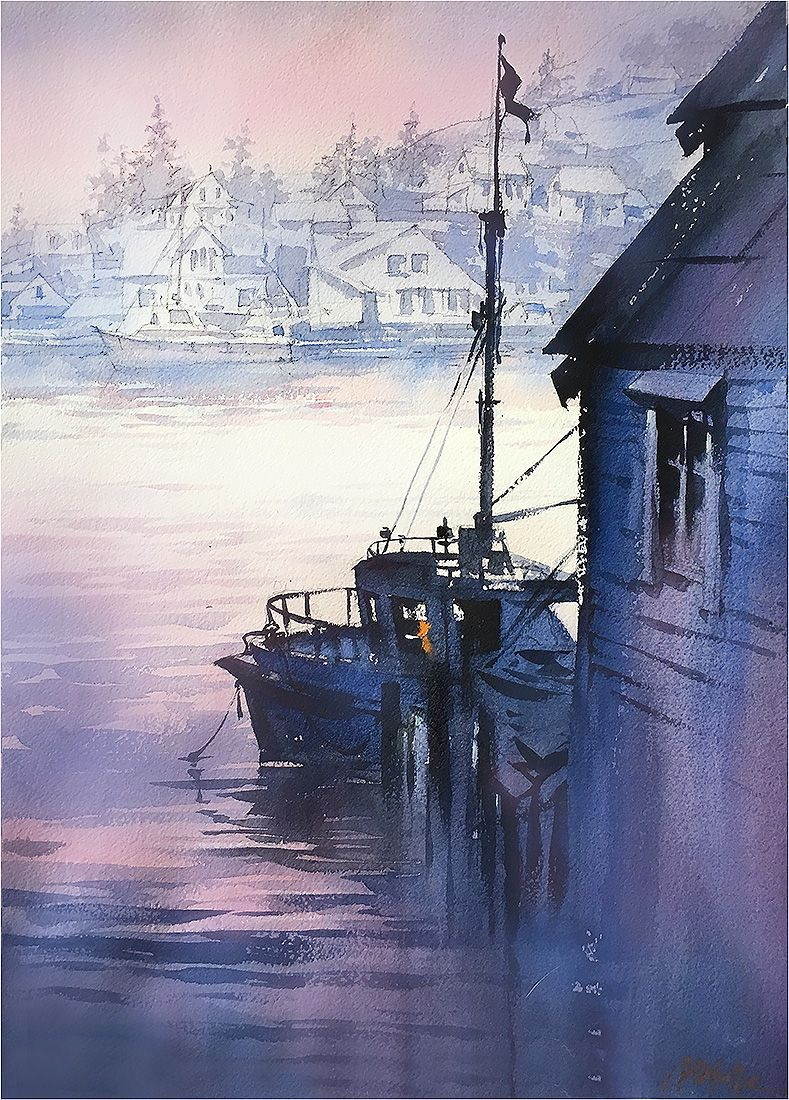 Sundown Kalvaag - Norway. Thomas W Schaller - Watercolor. 22x15 inches  05 May 2016.