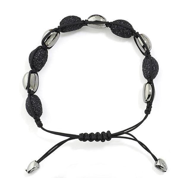 Black Cord Bracelet with Ruthenium and Black Dust Beads #bracelets #silver-bracelets