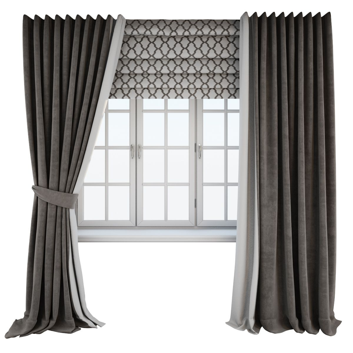 Dark Brown Floor Length Curtains Straight And With A Tieback Roman Curtain With A Geometric Pattern Brown Floors Dark Brown Floor Brown Curtains