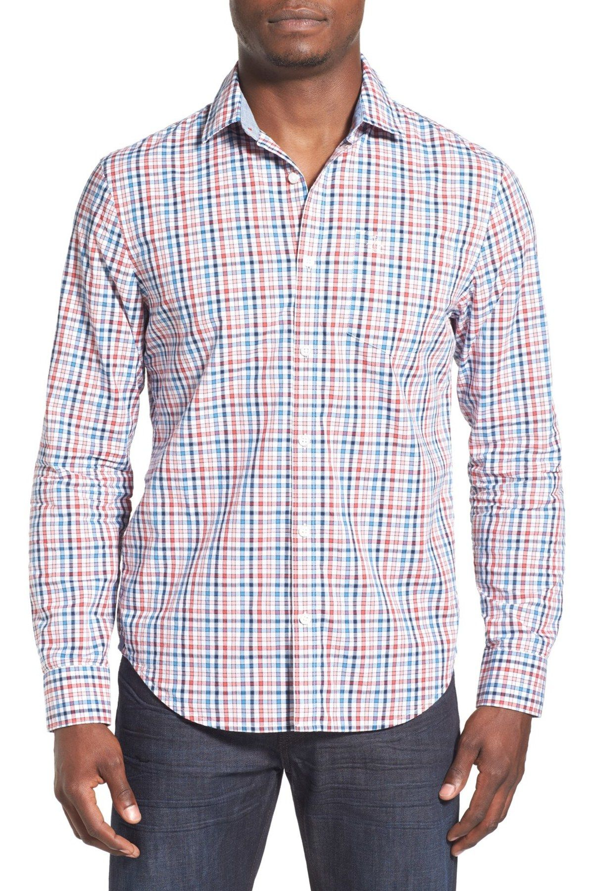 P55 Check Woven Long Sleeve Trim Fit Shirt