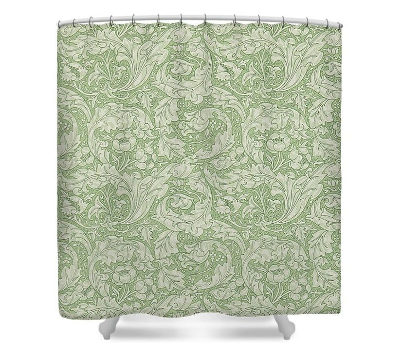 William Morris BACHELORS BUTTON Thyme Shower Curtain