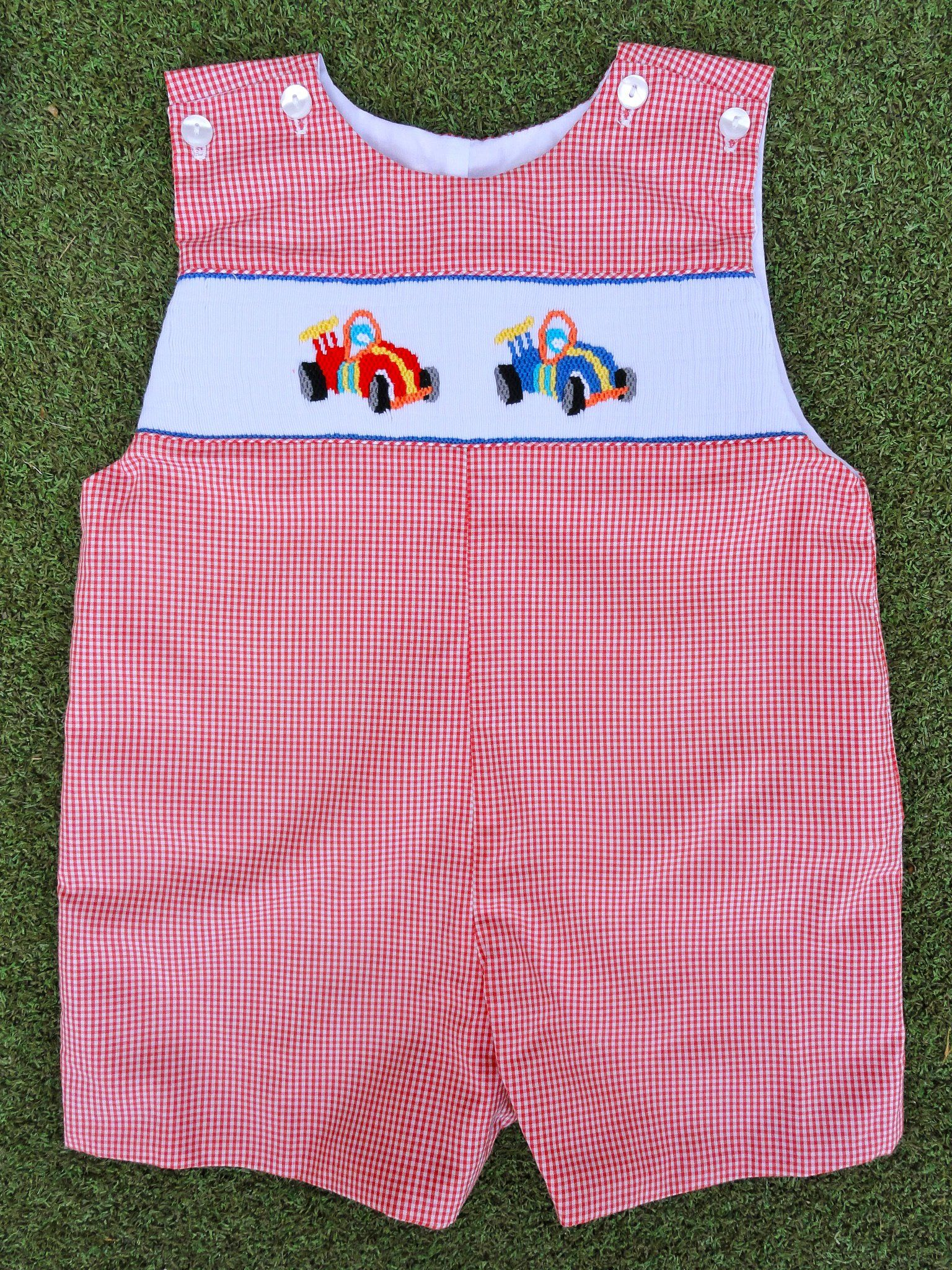 My Little Chick Newborn Baby Boys Smocked Short Summer Romper with Hat Cars
