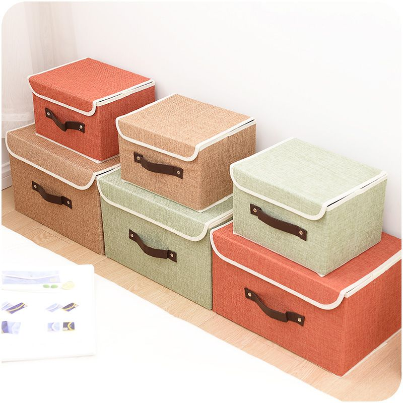 Pure Color Non Woven Foldable Storage Box Clothes Storage Box With Lid Toy  Sundries Organizer
