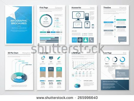 Eight pages of infographic brochures and flyers for business data