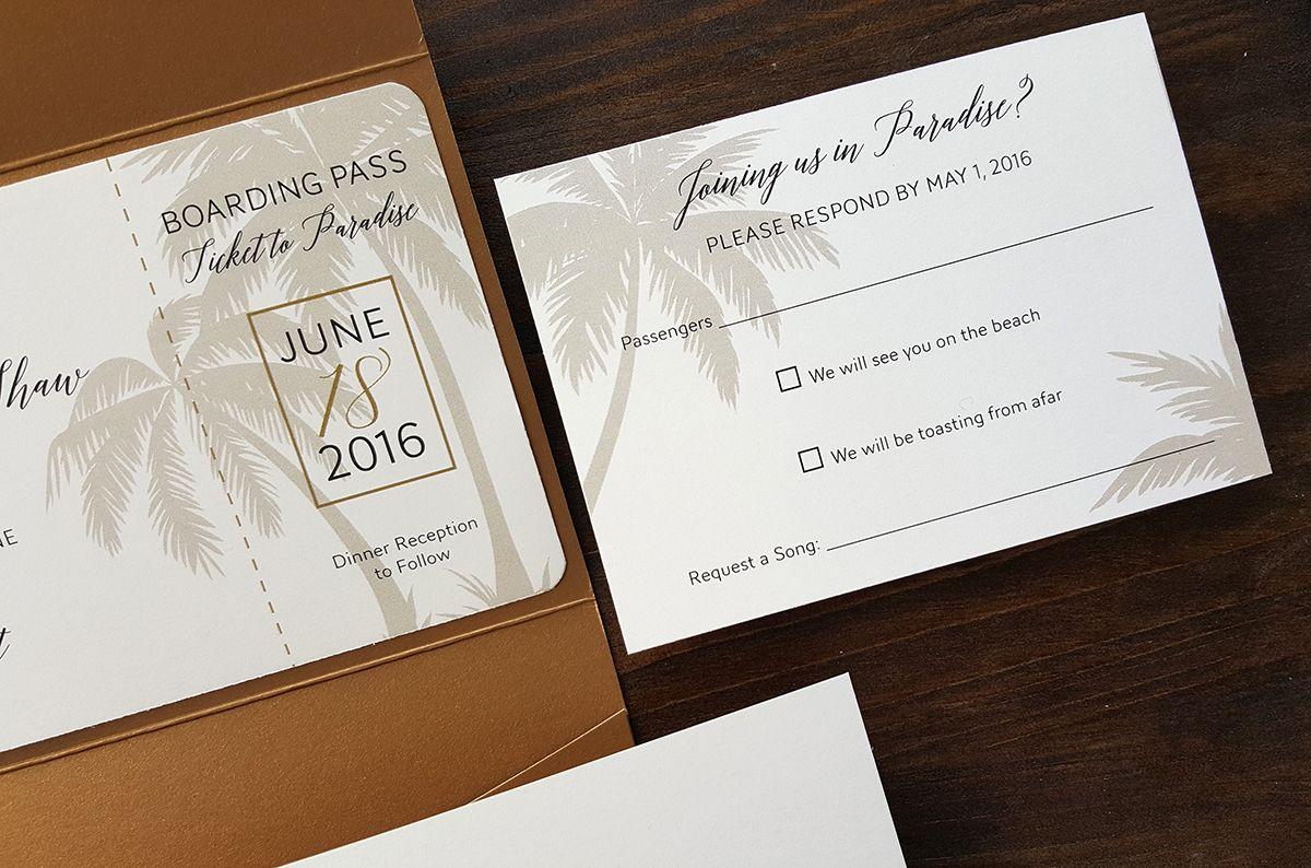 Elegant Gold Palm Tree Boarding Pass Style Destination Wedding
