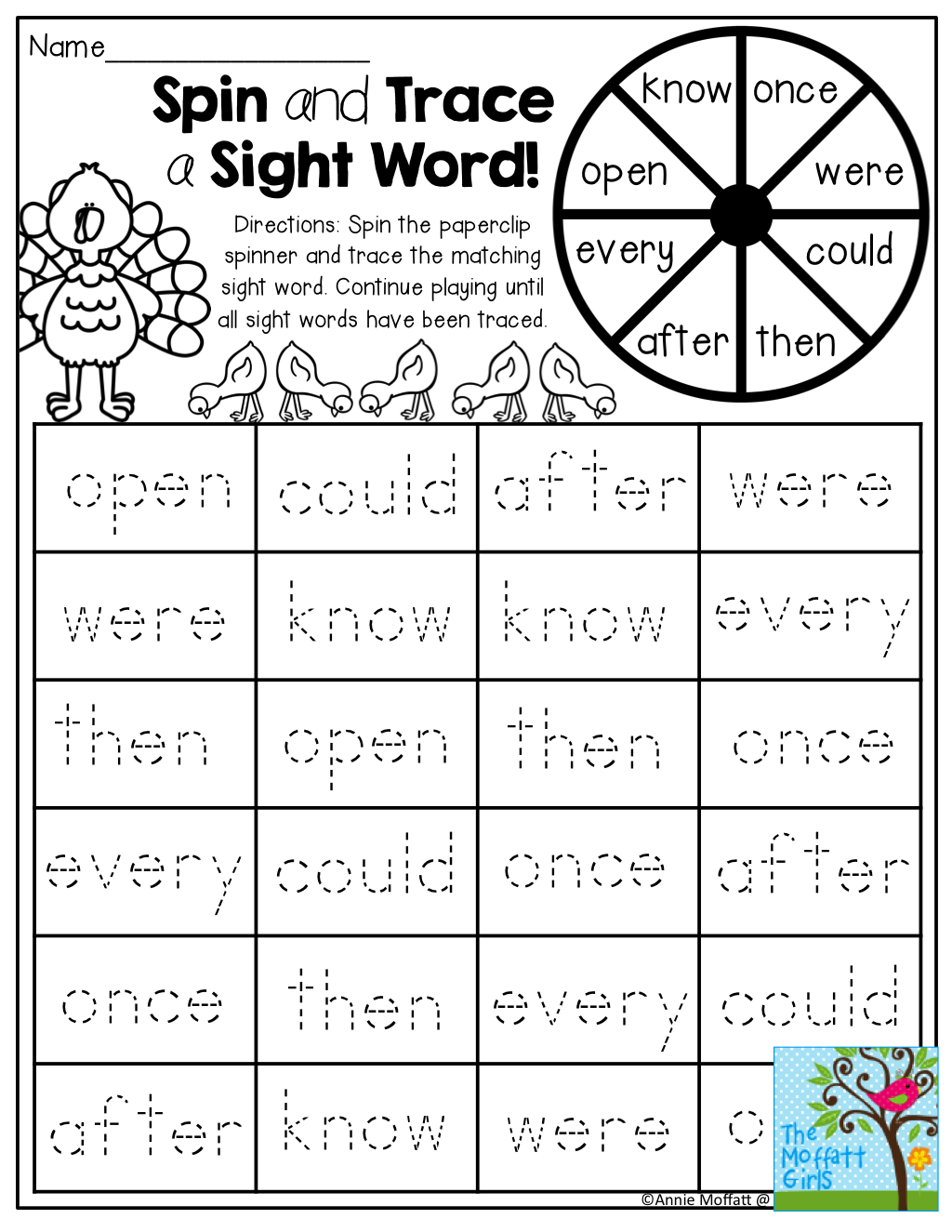 Spin And Trace A Sight Word Tons Of Fun And Interactive Printables