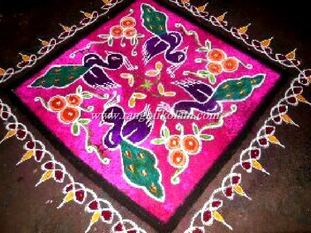 Peacock Pulli Kolam Its Look Very Vibrant And Colorful The Contrast Of Rangoli Is