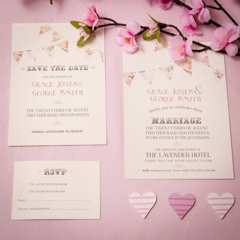 Vintage Flower Bunting Wedding Invitation Collection in Pink ...