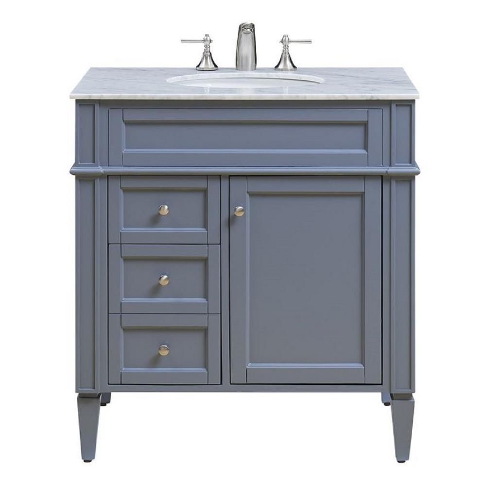 N A 32 In W X 21 5 In D X 34 625 In H Single Bathroom Vanity In Grey With White Marble To Single Bathroom Vanity Single Sink Bathroom Vanity Bathroom Vanity [ 1000 x 1000 Pixel ]