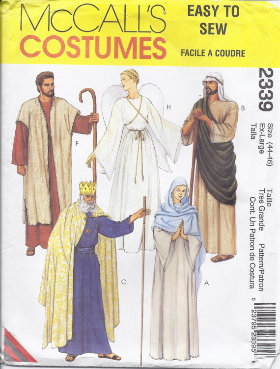 UNCUT Vintage McCalls Sewing Pattern Mens Misses Costumes Easter Jesus Mary 2060
