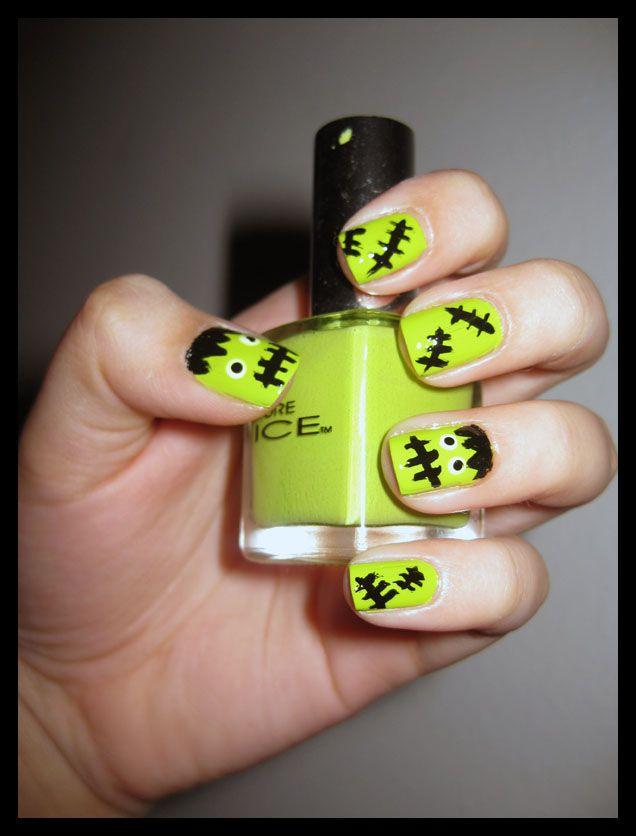 Frankenstein Nails Nail Art Pinterest Nails Halloween Nails