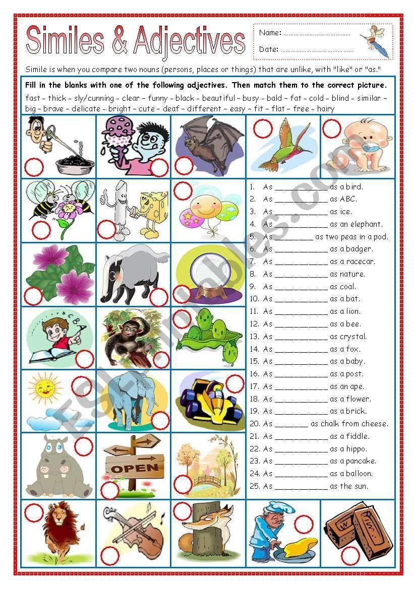 Similes And Adjectives Part 1 Esl Worksheet By Missola Simile Adjectives English Language Arts High School [ 1169 x 821 Pixel ]