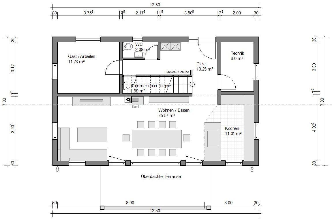 Einfamilienhaus Attika Giebel Balkon 162 Haus Grundriss