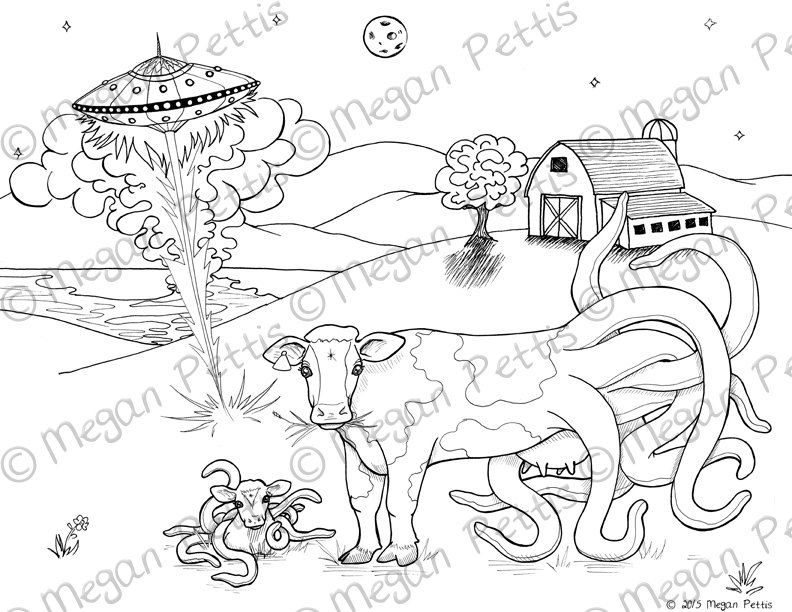 Cowthulhu UFO Print at Home Coloring Book Page, Adult Coloring ...