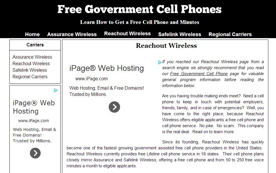Http Freegovernmentcellphone Biz Reachout Wireless Reachout