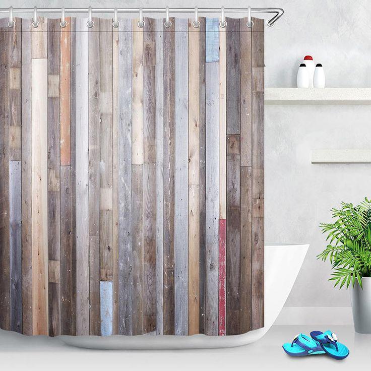 40x60cm Bathroom Shower Curtain Modern Rustic Wood Wall Waterproof