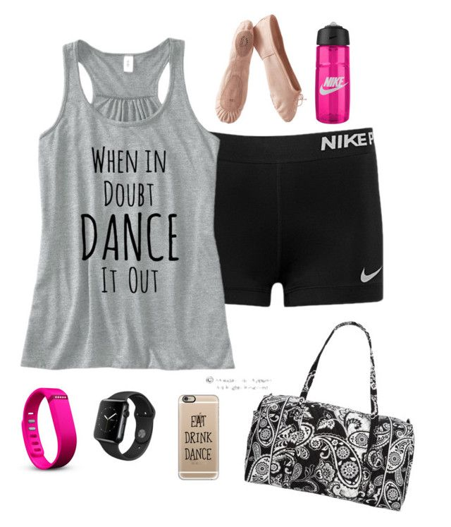 """""""Dance"""" by prepallday ❤ liked on Polyvore featuring NIKE, Porselli, Vera Bradley, Casetify and Fitbit"""