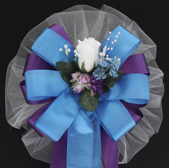 White Rosebud Purple and Blue Wedding Pew Bows Church Aisle ...