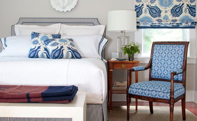 Blue and White Master Bedroom brunschwig and fils foglia - Google