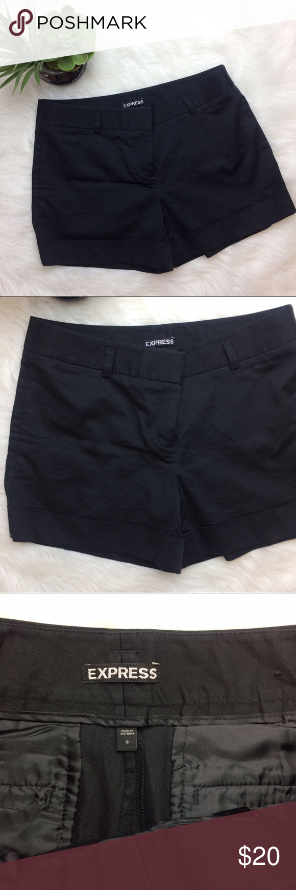 "Express Black Shorts Express Black shorts. So soft. 99% cotton, 1% spandex. Flat front. Size 6. Waist is 16.5"". Inseam is 4 1/4"". Express Shorts"