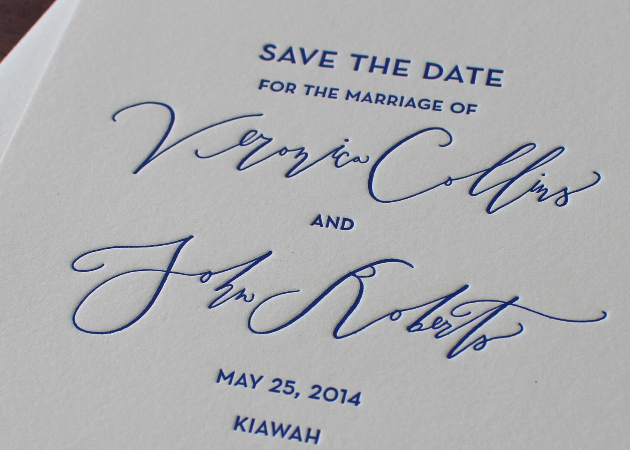 Detail of Betsy Dunlap calligraphy on letterpress printed Save the Date