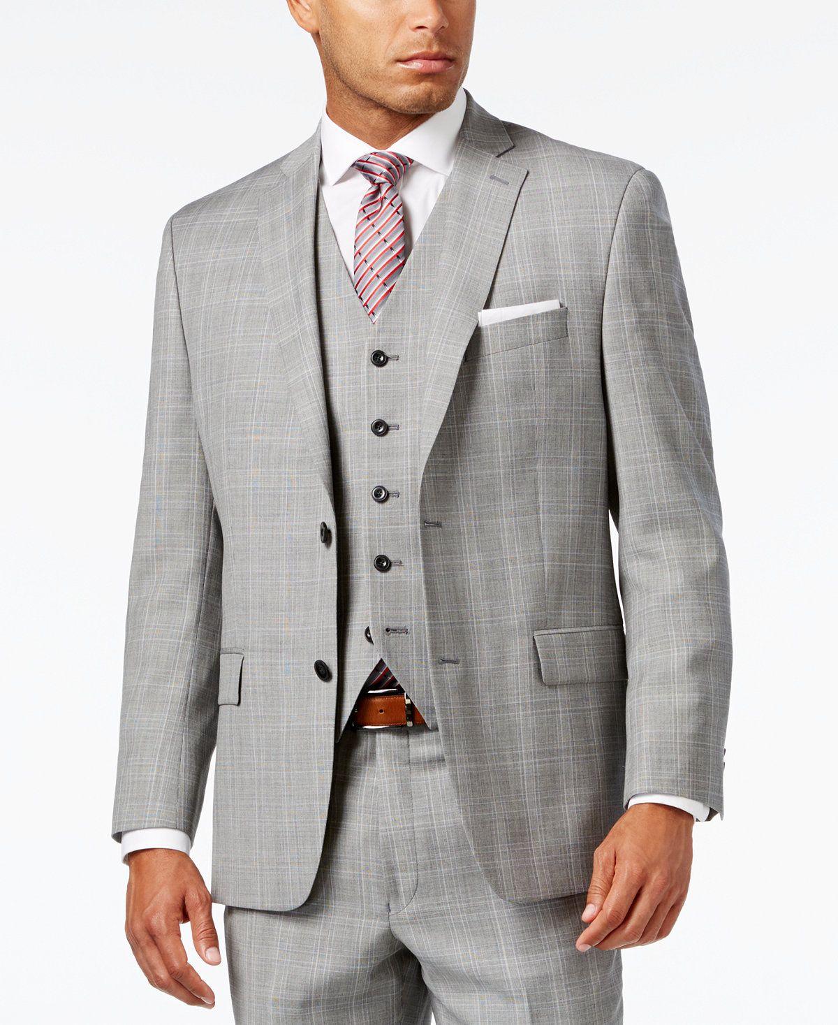 682dbe5c2c8 Michael Kors Men s Classic-Fit Light Gray Glen Plaid Vested Suit - Suits    Suit Separates - Men - Macy s