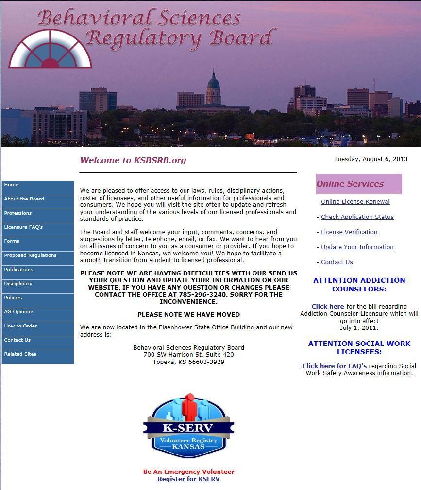 Kansas behavioral sciences regulatory board httpwww