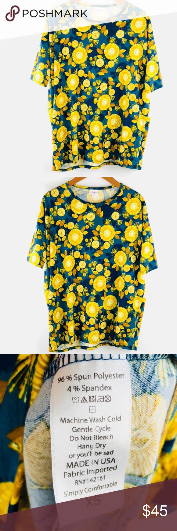 LulaRoe Sunflower Loose Top Blue Size XS Loose Fit Short 3