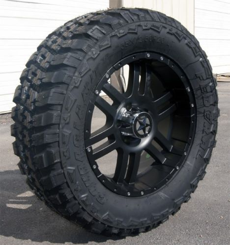 Chevy Silverado 20 Matte Black Lonestar Wheels 35 Tires 20 Inch Rims