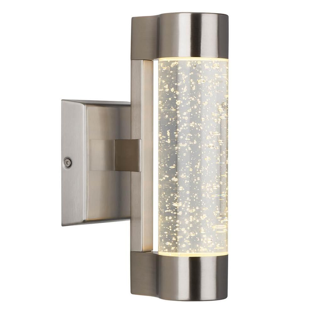Artika Medium Bubble Flow Stainless Steel Integrated Led Outdoor Wall Mount Cylinder Light In 2020 Cylinder Lights Led Outdoor Wall Lights Outdoor Wall Lighting