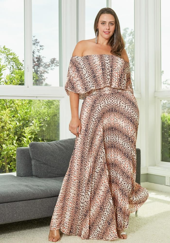 9556b612c Asoph Plus Size Leopard Print Pleated Maxi Dress | Asoph.com ...