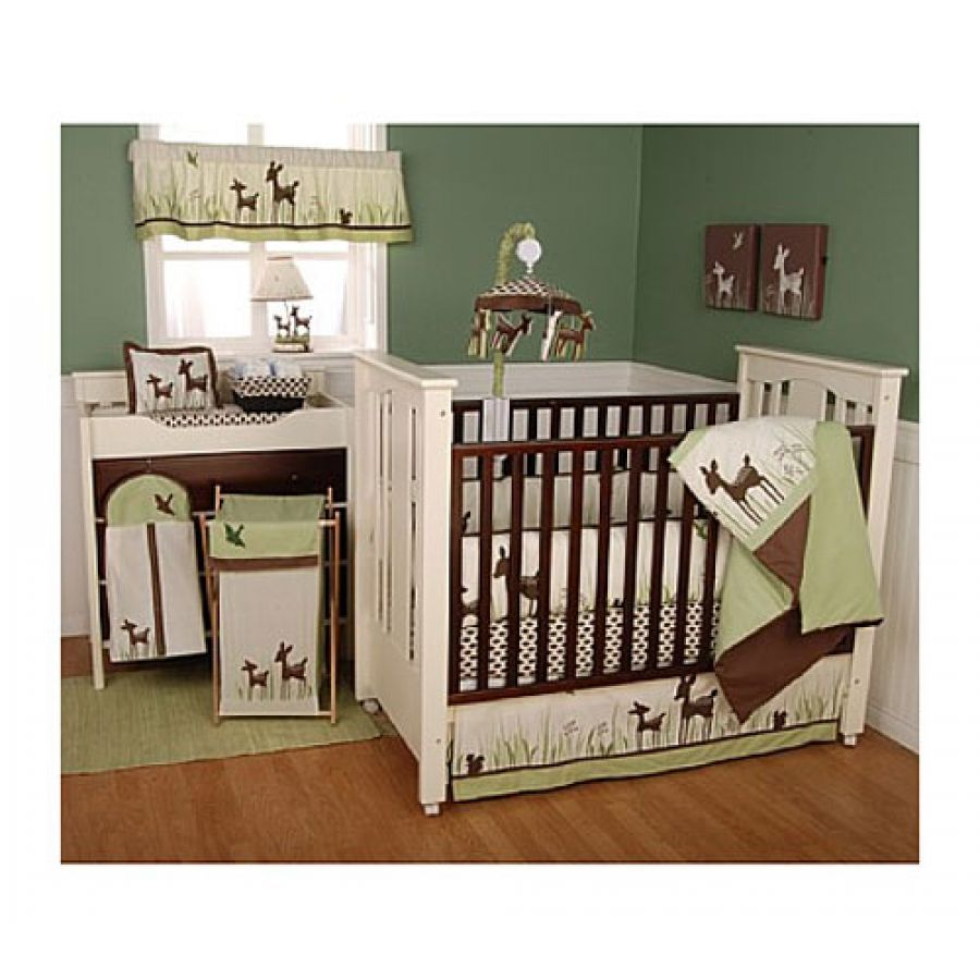 Baby cribs green - Kidsline Willow Organic Deer 6 Piece Crib Set