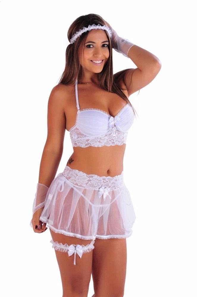 eef199360 lingerie branca sensual noiva lua de mel