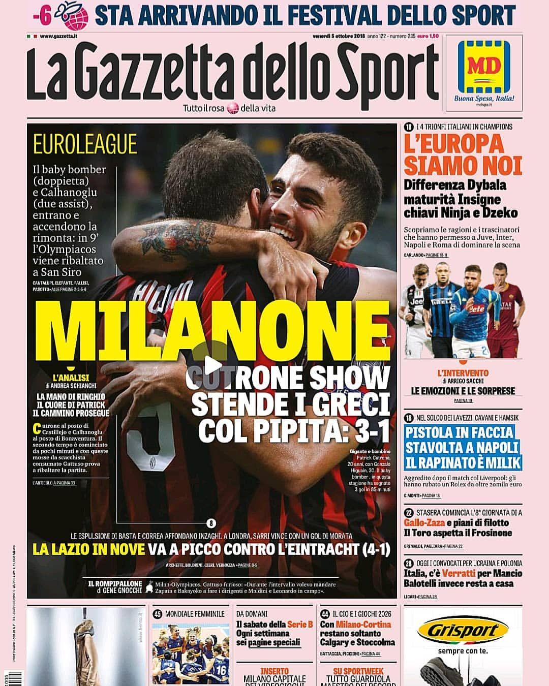 """""""Mi piace"""" 646, commenti 1 La Gazzetta dello Sport"""