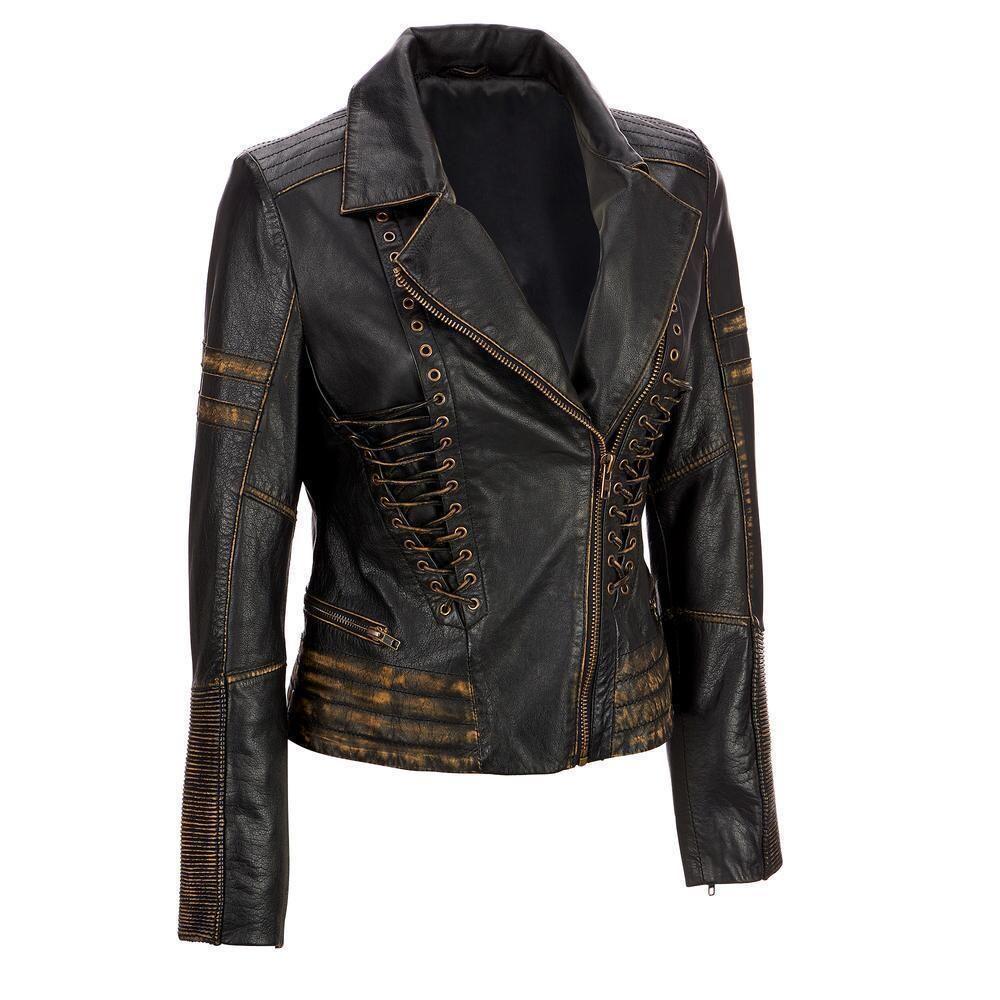 Womens Vintage Distressed Biker Leather Jacket Asymmetric Jacket Distressed Leather Jacket Leather Jackets Women [ 1000 x 1000 Pixel ]