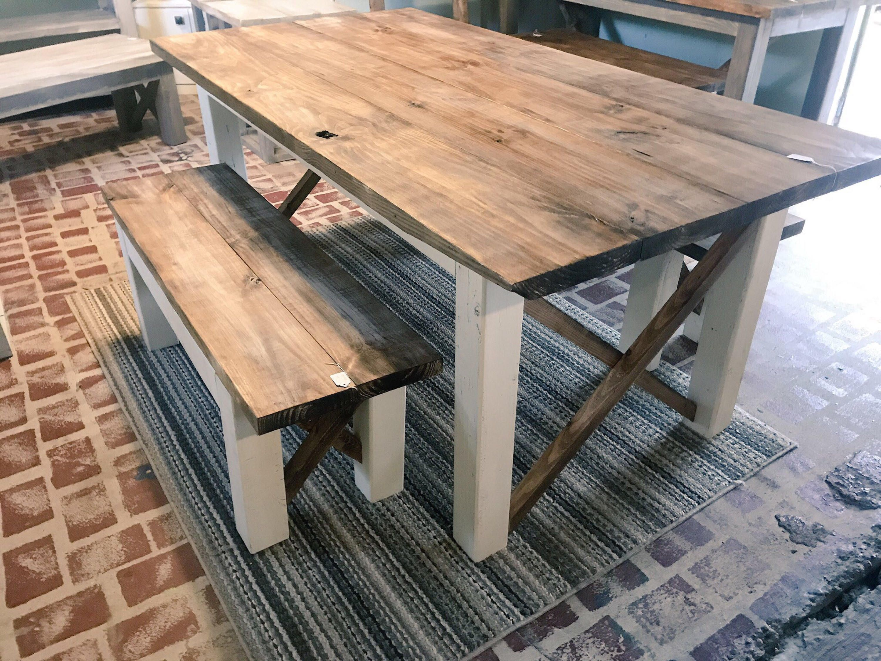 Super Rustic Farmhouse Table With Benches With Dark Walnut Top And Machost Co Dining Chair Design Ideas Machostcouk