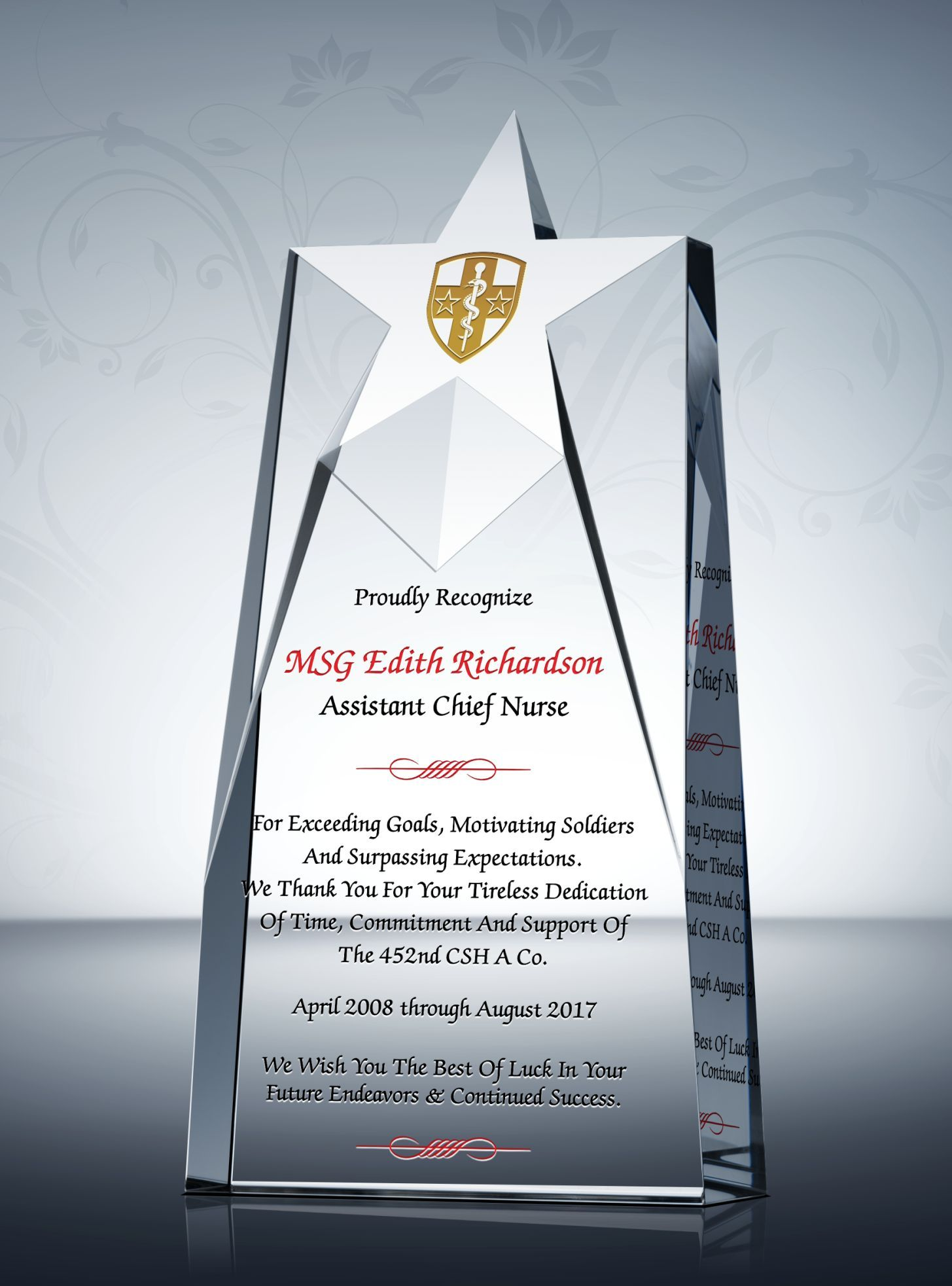 Nurse Retirement Recognition Awards Pastor Appreciation