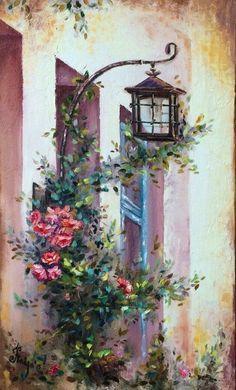 Elegant Toskana, Malerei, Romantik, Schöne Bilder, Handarbeiten, Deko, Mediterrane  Gemälde, Mediterrane Kunst, Ölgemälde